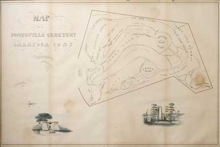 Original 1864 map of cemetery. On display in the Clifton Park/Halfmoon Public Library